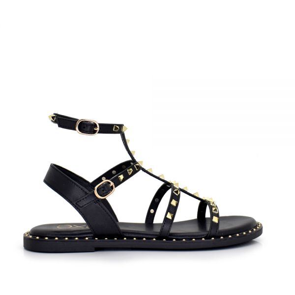 SANDALIA PLANA BLACK CON REMACHES DORADOS  ALLISON-820