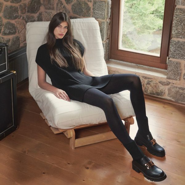 MOCCASIN CALCETIN PB6266-F413 WITH PLATFORM IN BLACK