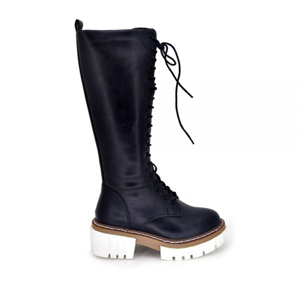 BOOT WITH LACES W986-R2113 BLACK WHITE