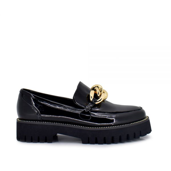 PATENT LEATHER LOAFERS WITH PLATFORM PB6252-H83 BLACK