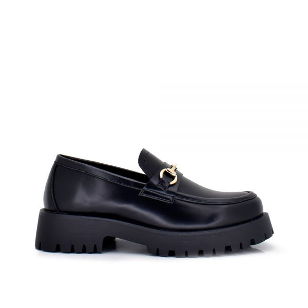 MOCCASIN WITH BUCKLE AND PLATFORM EX153 BLACK