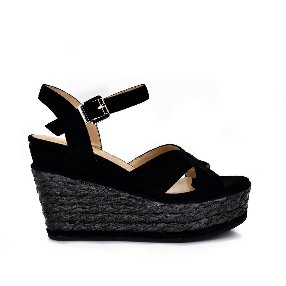 sandalia cuña mujer con plataforma esparto color negro