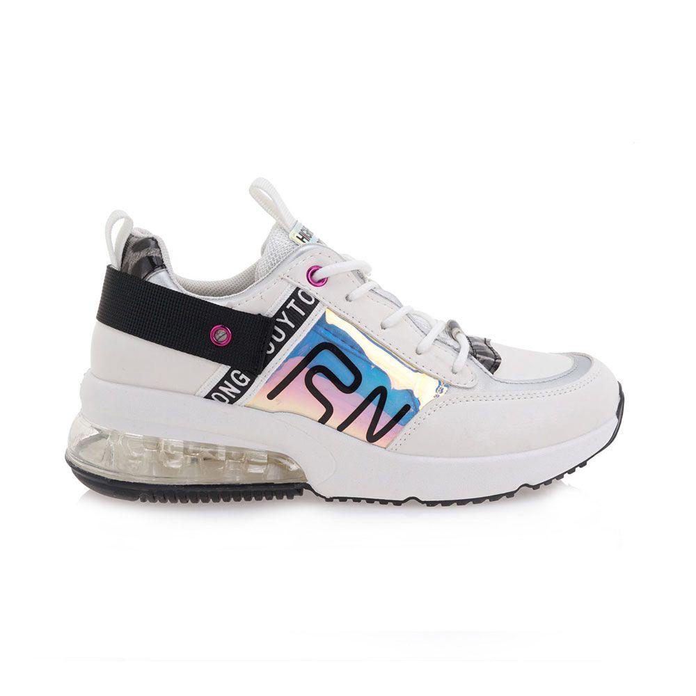 sneaker con cámara de aire blanca reflectante