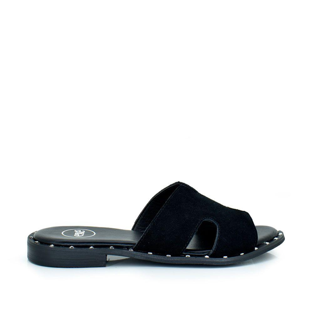 Sandalia plana piel negro