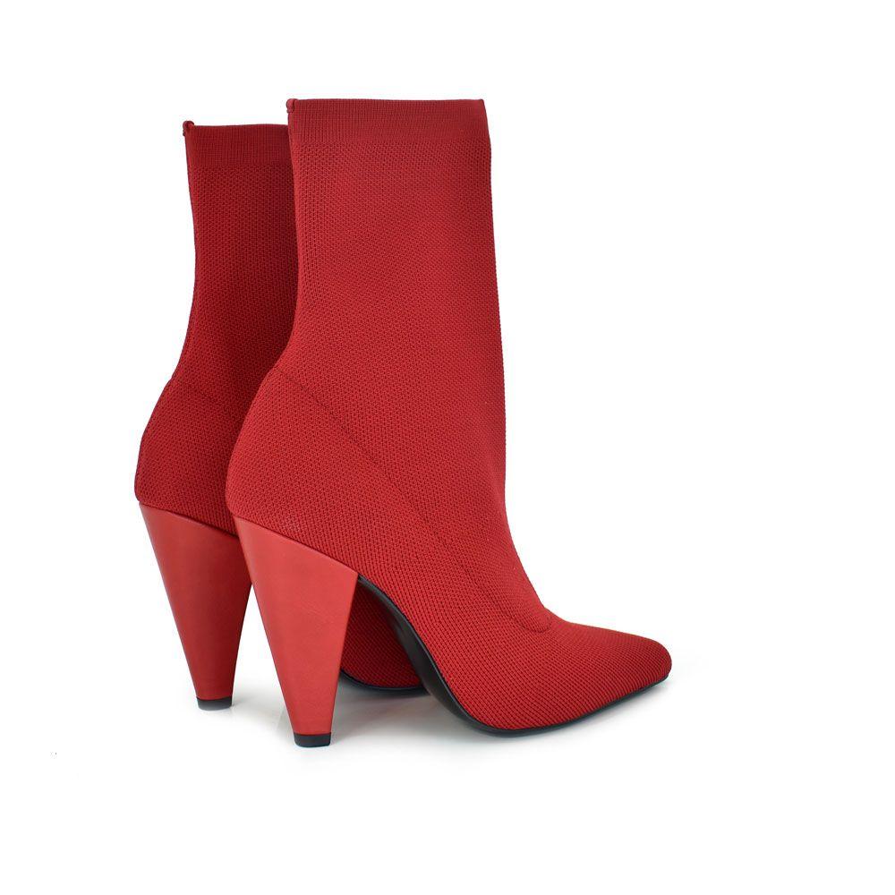 Botines de tacon tejido elastico rojo exe shoes