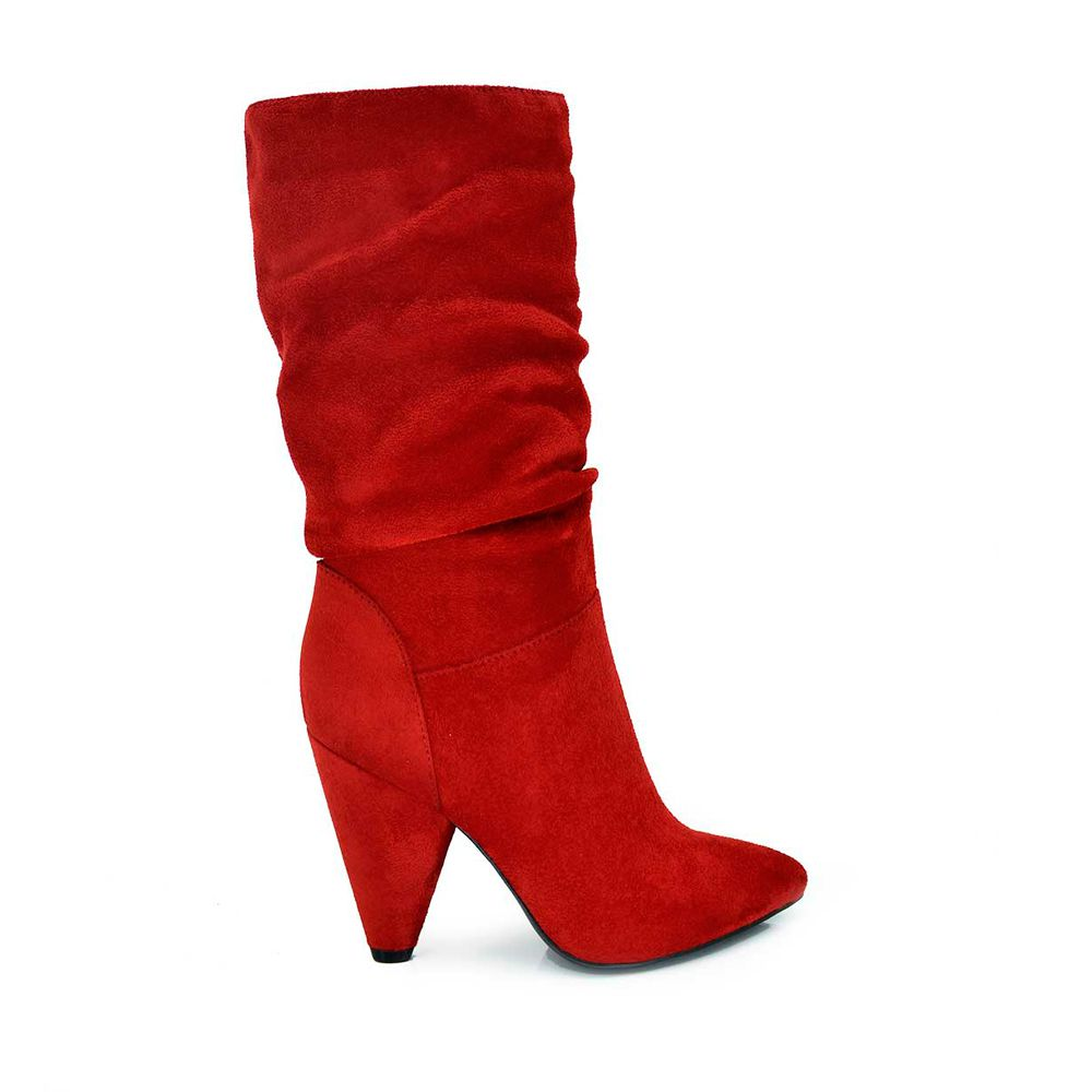 Bota tacon pliegues rojo