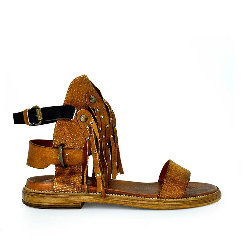 Sandalia hippie flecos cuero