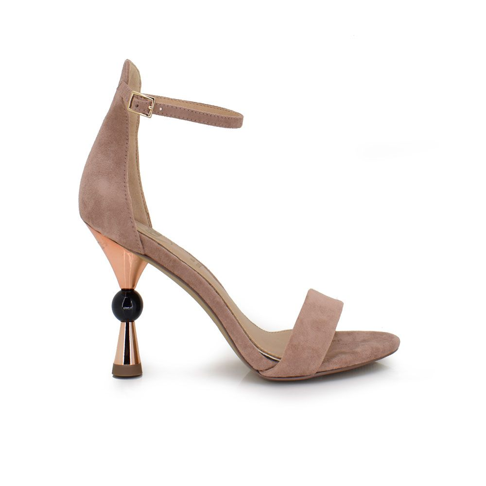 sandalia de tacón asimétrico color rosa