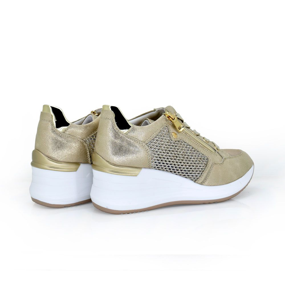 deportiva sneaker gold cordones cremallera decorativa talon decorado plataforma rejilla