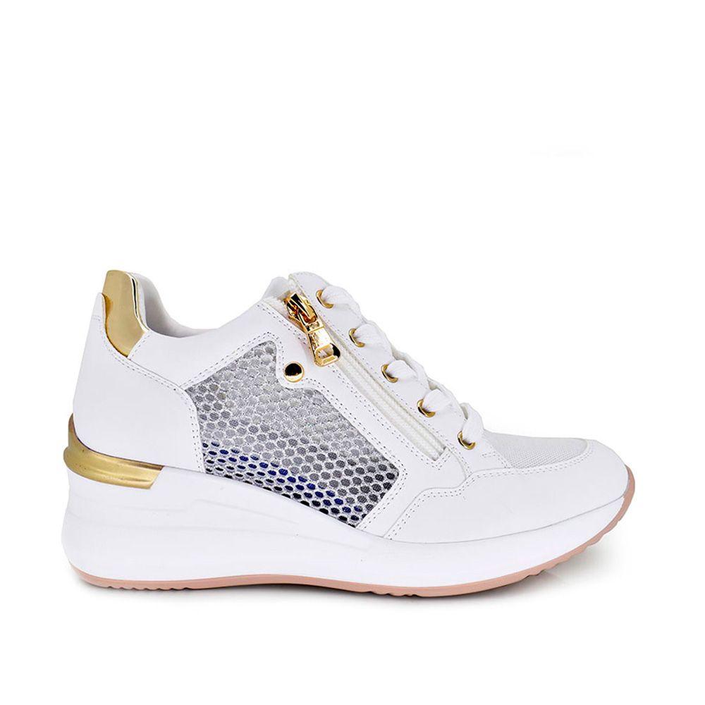deportiva sneaker bicolor con cremallera decorativa rejilla en el costado