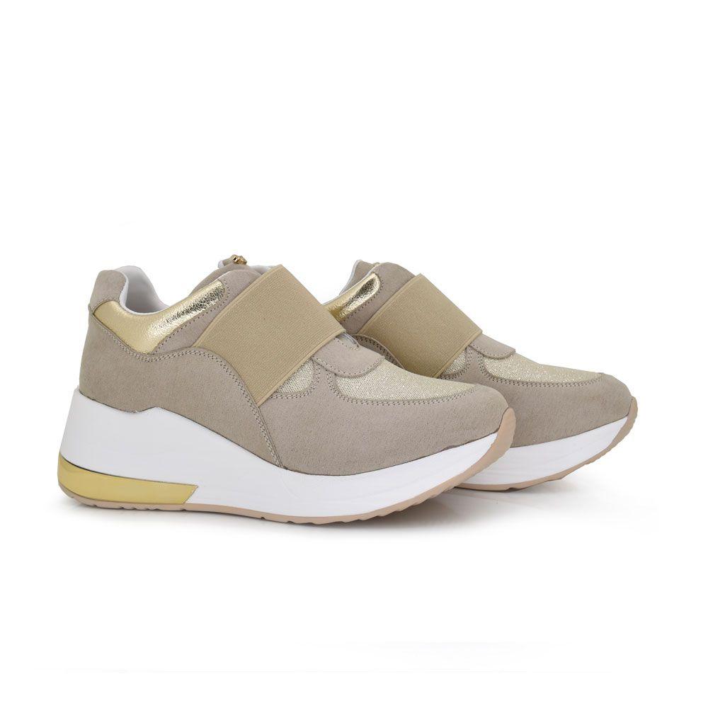 sneaker confort plataforma tira decorativa sin cordones comodidad comodas brillante beige