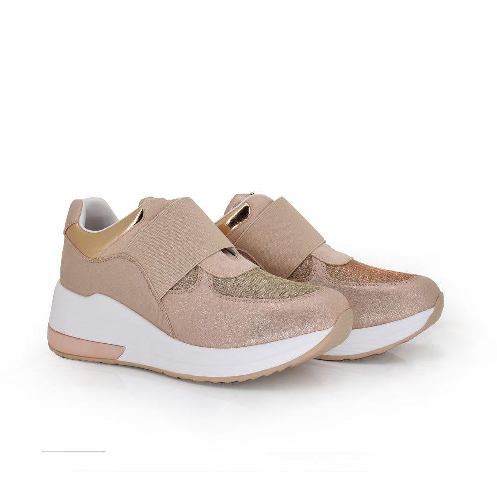 sneakers comfy color rosa con dealles dorados plataforma blanca comodas sin cordones