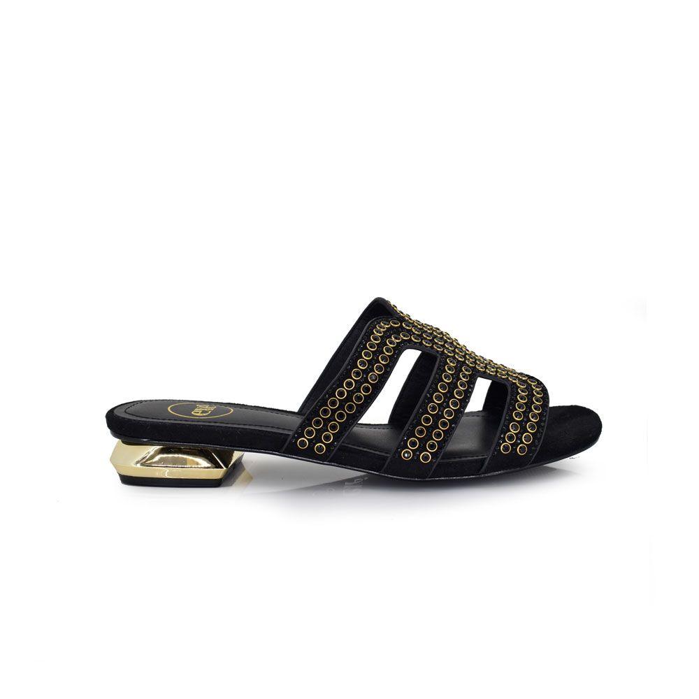 sandalia plana con tacon dorado y tiras
