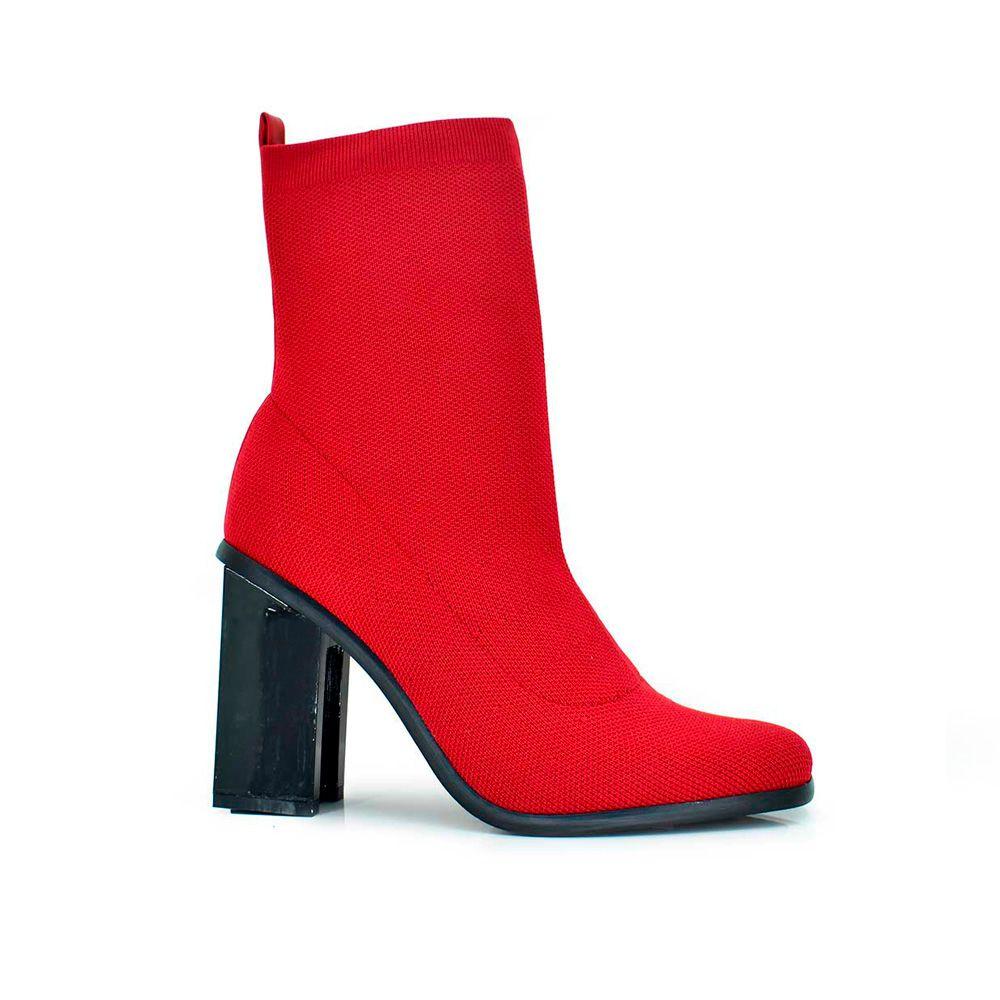 Botines calcetin rojos tacon alto