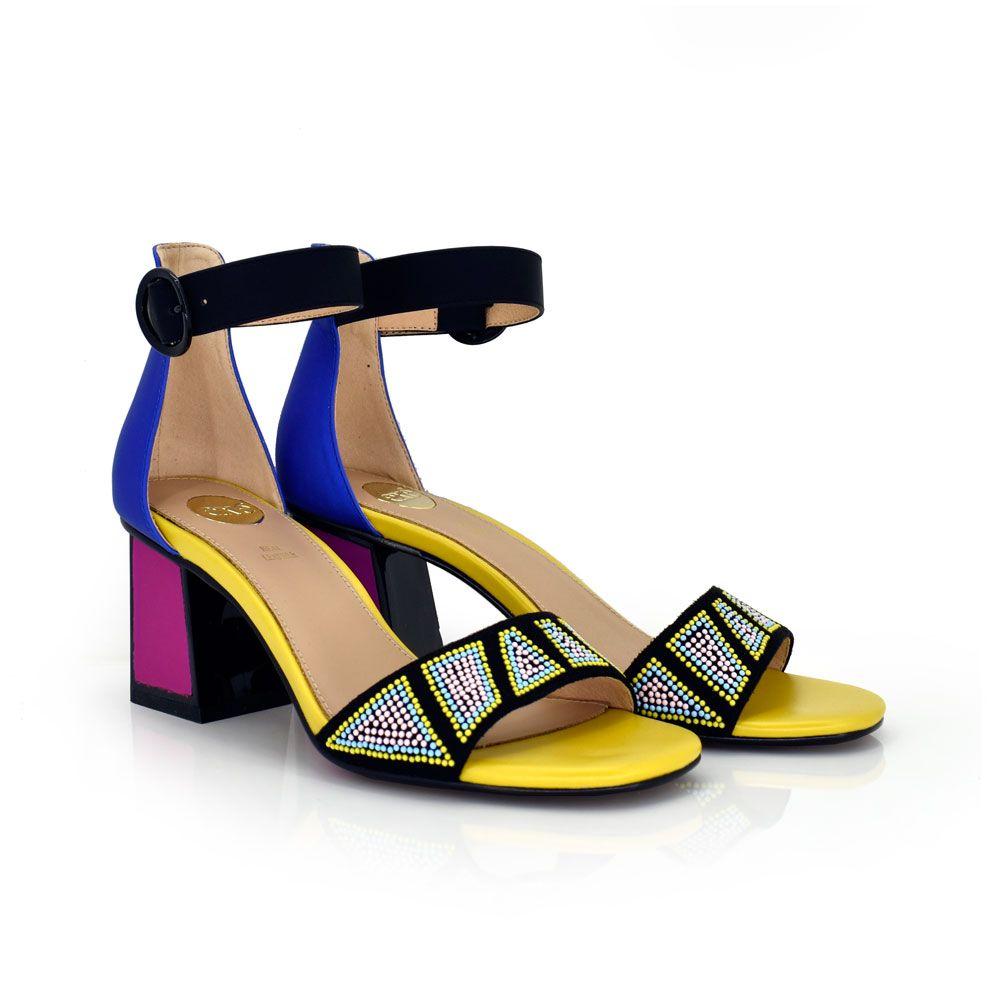 sandalia tacon bajo mujer multicolor