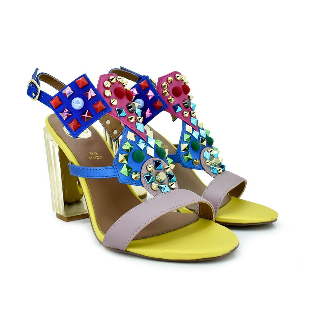Mona Sandalia Remaches 920 Tacon Amarillo Colores YWHED2I9