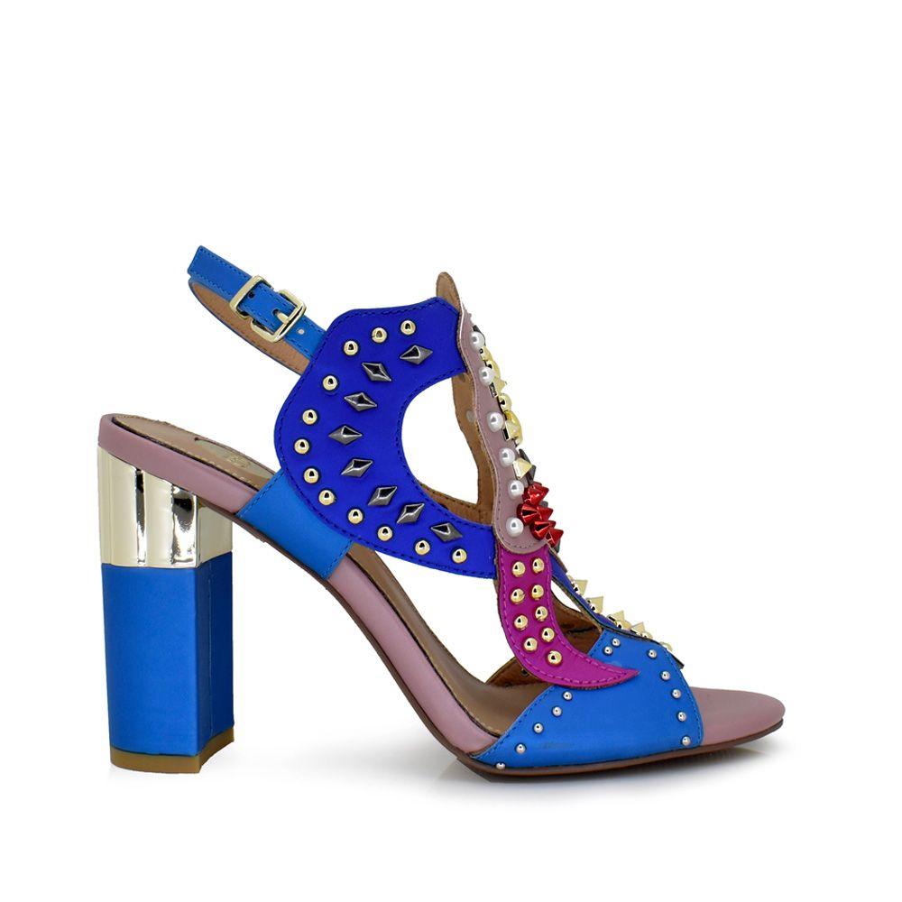 sandalia tacon mujer con remaches tachuelas color azul