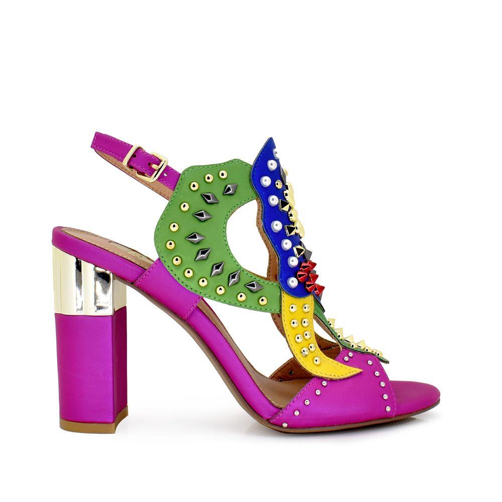sandalia tacon mujer tachuelas remaches colores vivos multicolor