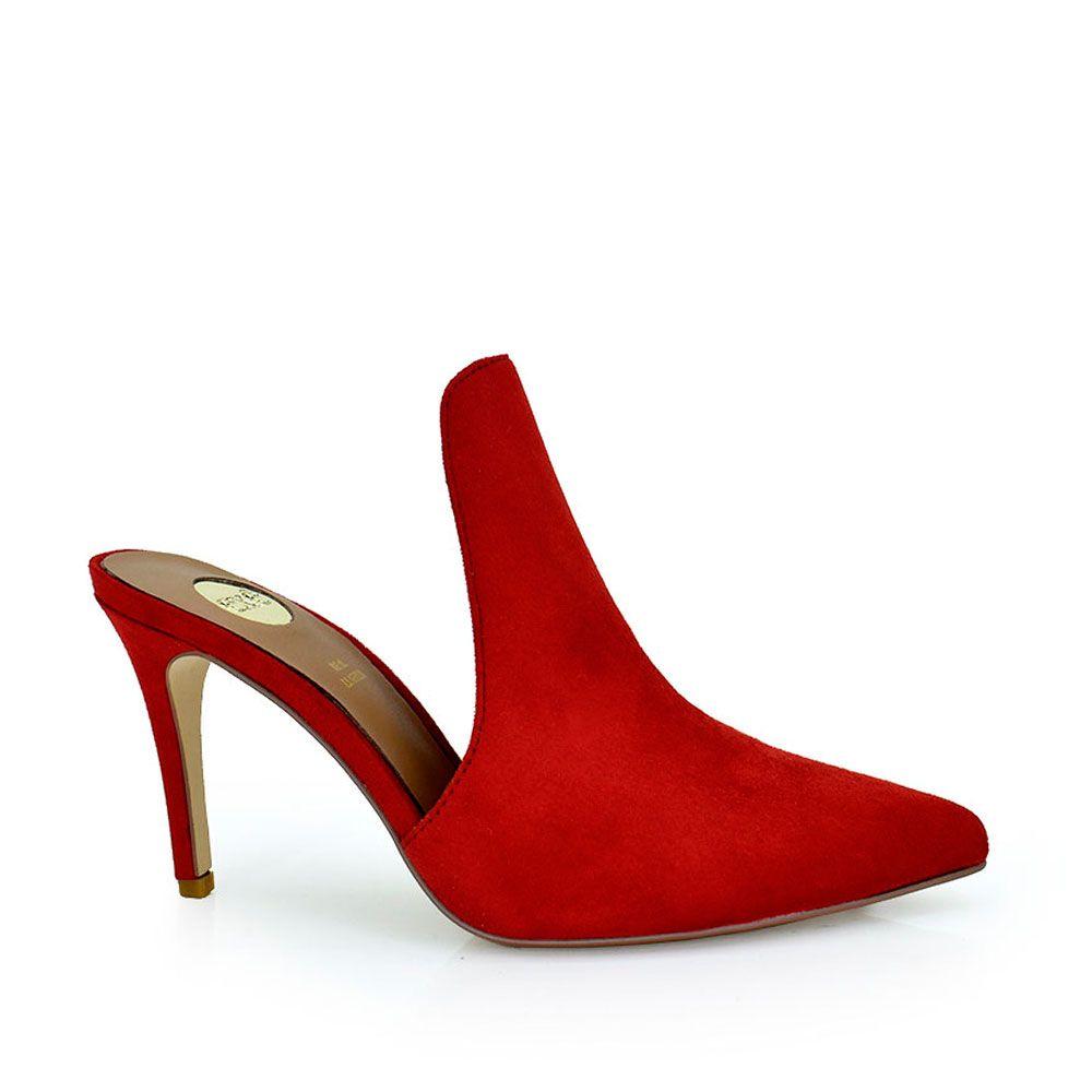 Sandalia mule de tacon en rojo
