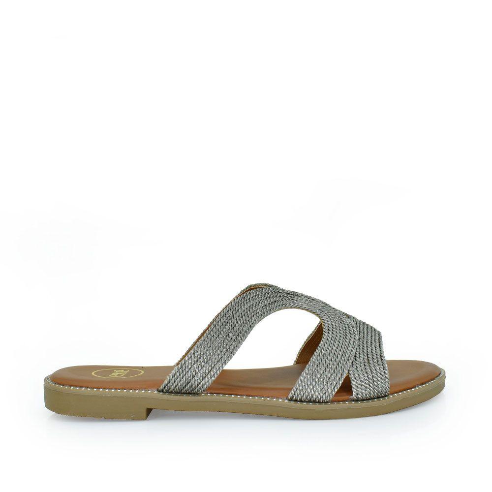 Sandalia pala trenzada plata
