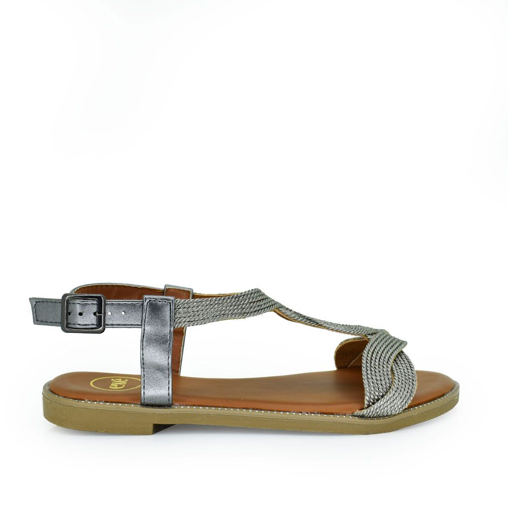 Sandalia plana trenzada plata