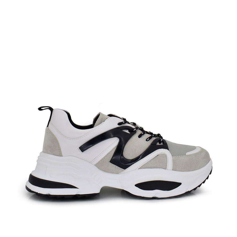 sneaker zapatilla deportiva mujer bicolor blanca y gris con detalles negros y plataforma alta