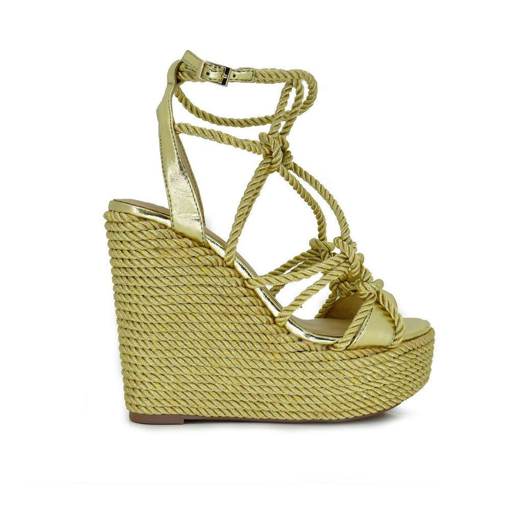 sandalia raffia dorada con nudos