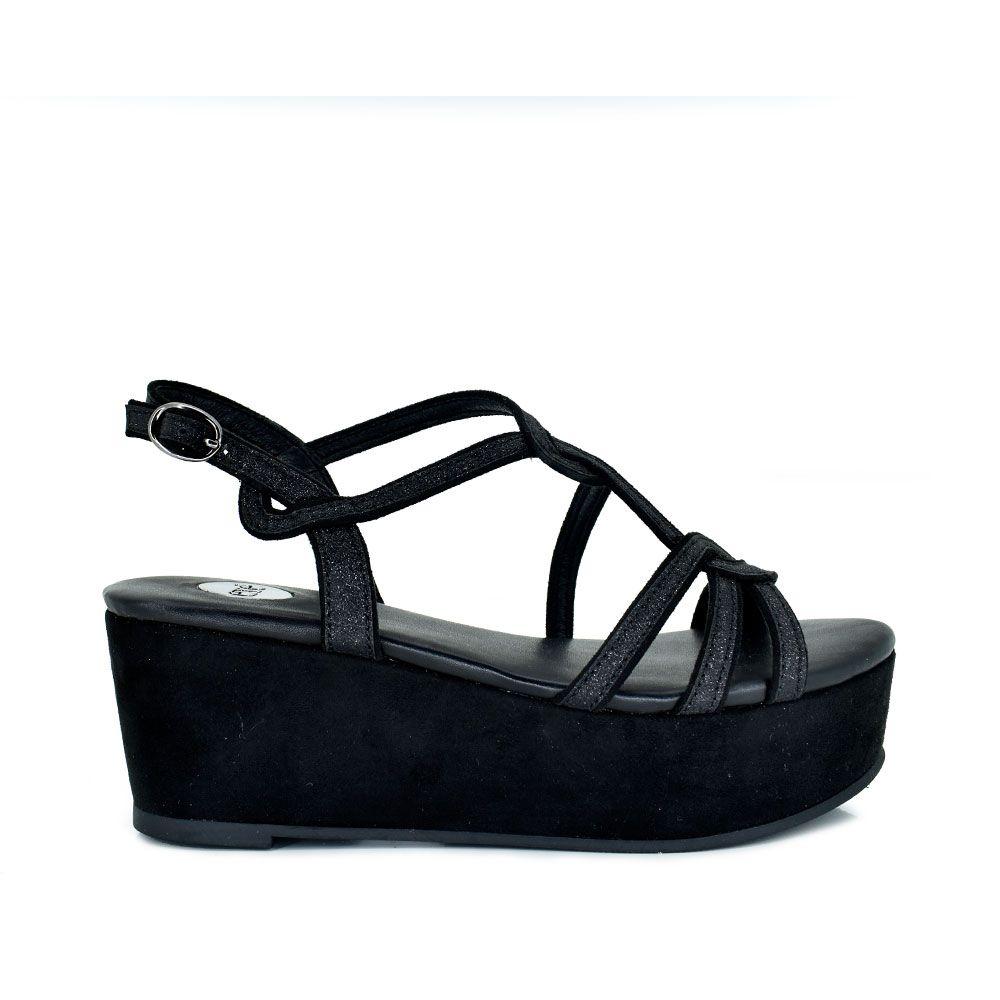 Sandalia plataforma en negro con glitter