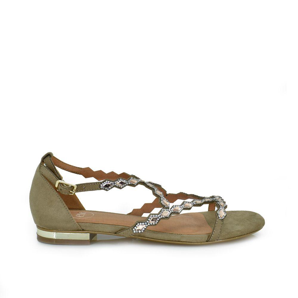 Sandalia plana con cristales beige