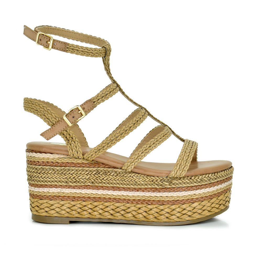 Sandalia plataforma rafia trenzada beige