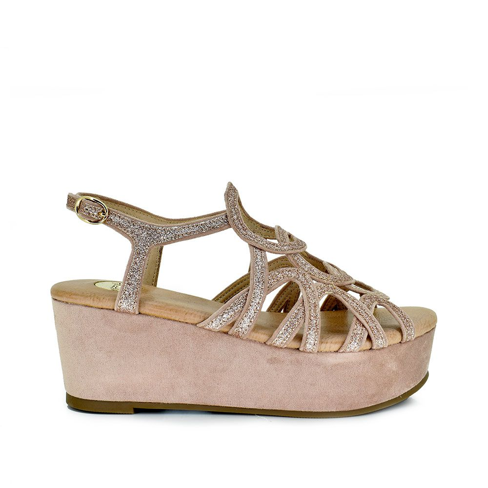 Sandalia glitter rosa con plataforma