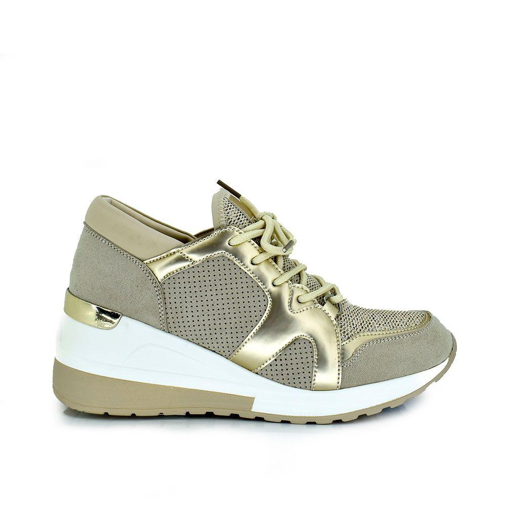 Sneaker combinada dorado