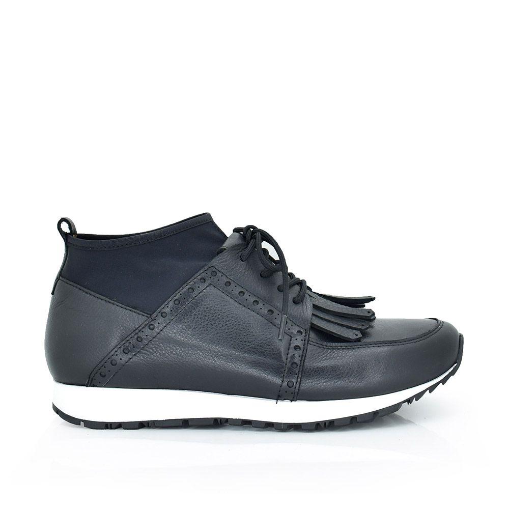 sneakers piel cordoneras malla