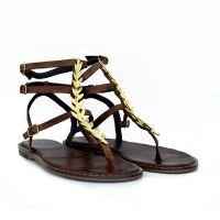 sandalias planas mujer de piel con detalle dorado