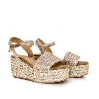 sandalia cuña mujer confeccionada con rafia cierre pulsera