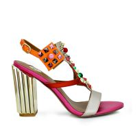 Sandalia tacon dorado con remaches multicolor