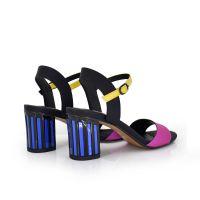 sandalia mujer tacon bajo pulsera multicolor