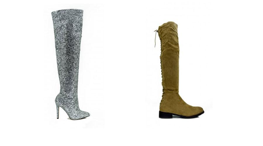 botas con glitter y botas altas mostaza
