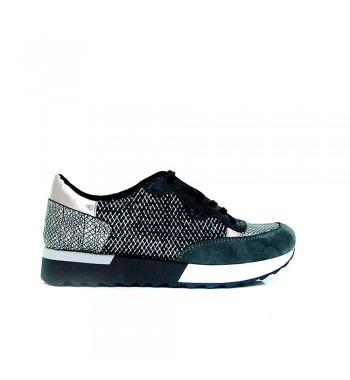 sneakers brillos plata gris y negro, perfectas para combinar con tus conjuntos más arreglados