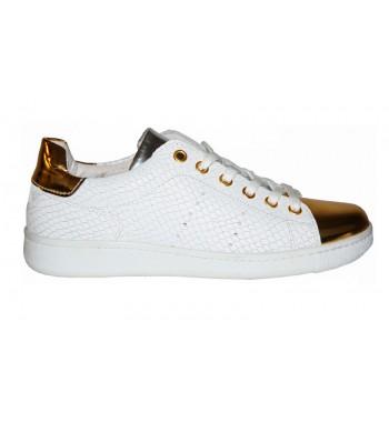 zapatillas blancas mujer con detalles en dorado